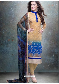 Blue And Cream Georgette Churidar Suit