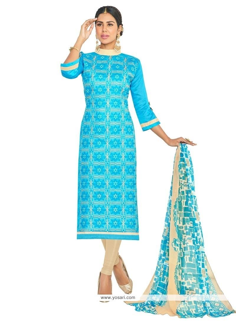 Opulent Chanderi Cotton Embroidered Work Churidar Suit