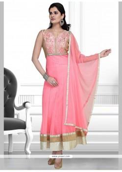 Brilliant Net Pink Embroidered Work Anarkali Salwar Suit
