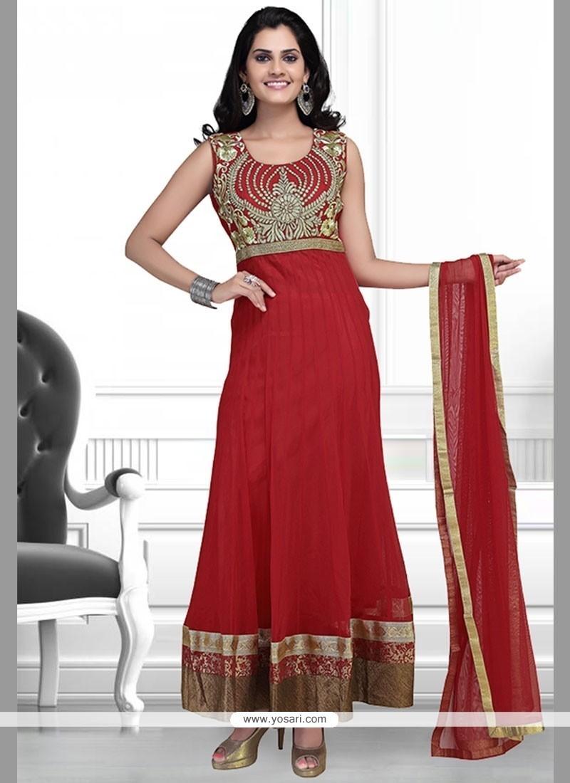 Irresistible Net Red Anarkali Suit