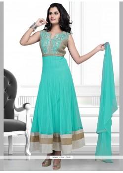Pristine Turquoise Lace Work Anarkali Suit