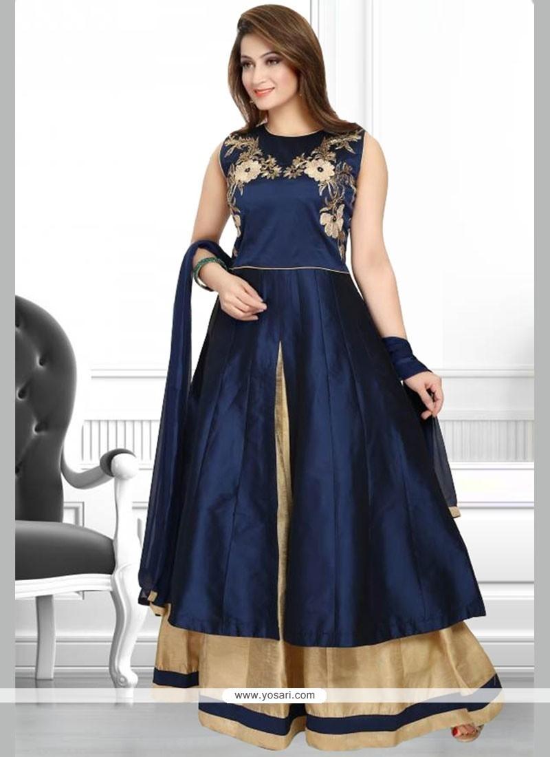 Outstanding Navy Blue Patch Border Work Art Silk Anarkali Salwar Suit