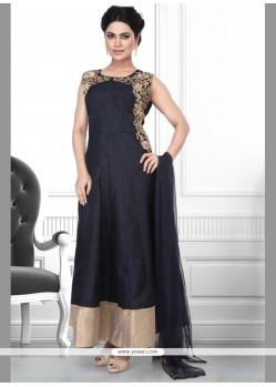 Stylish Embroidered Work Black Anarkali Suit