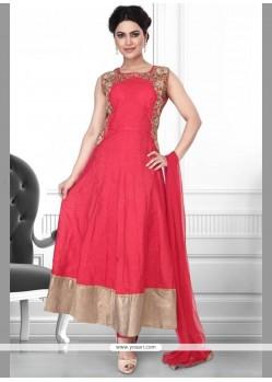 Baronial Patch Border Work Rose Pink Art Silk Anarkali Salwar Suit