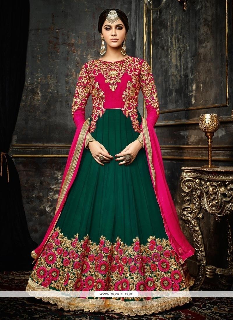 Entrancing Green Faux Georgette Floor Length Anarkali Suit