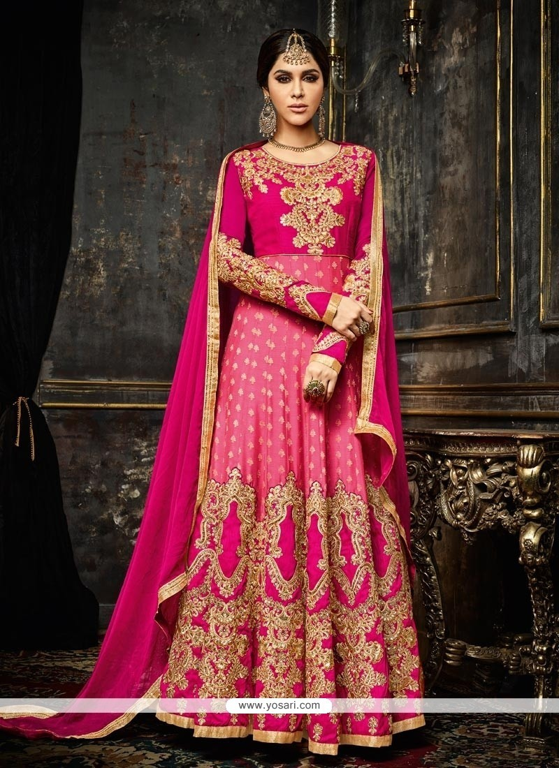 Fashionable Embroidered Work Faux Georgette Floor Length Anarkali Salwar Suit