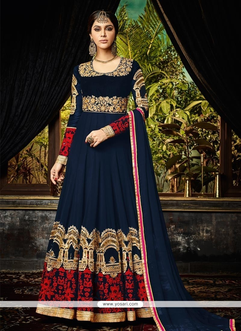 Lively Resham Work Navy Blue Floor Length Anarkali Suit