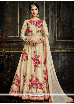 Fashionable Lace Work Beige Faux Georgette Anarkali Salwar Suit