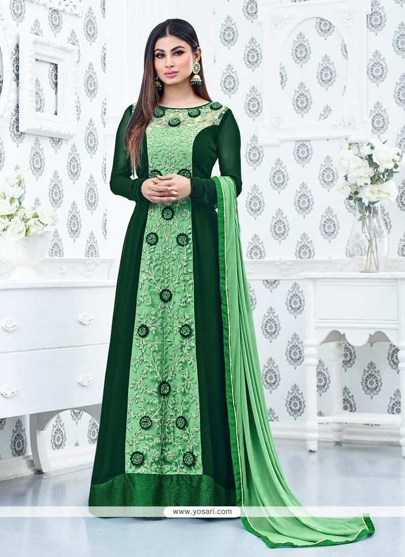 Splendid Embroidered Work Floor Length Anarkali Suit
