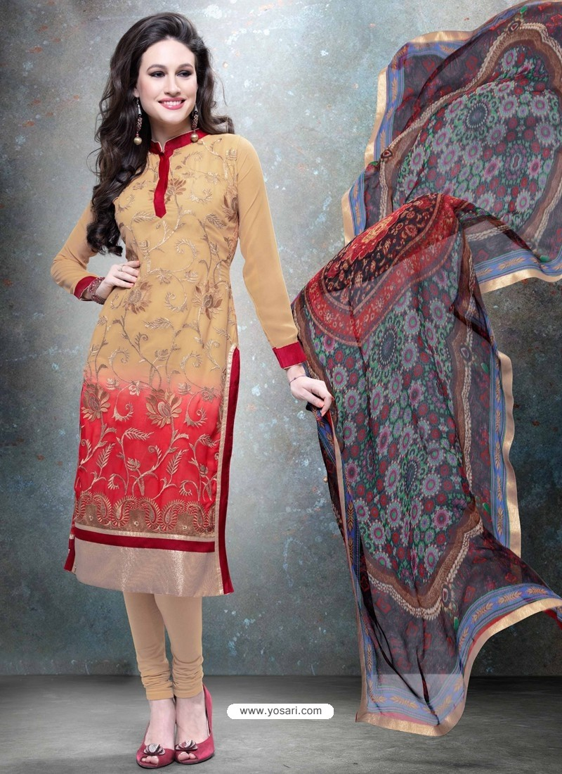 Cream And Red Georgette Churidar Suit