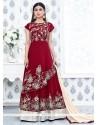 Delectable Faux Georgette Lace Work Anarkali Suit