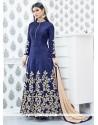Auspicious Lace Work Navy Blue Designer Floor Length Suit