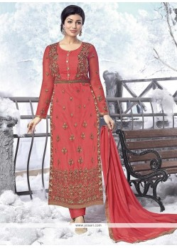 Ayesha Takia Rose Pink Embroidered Work Designer Straight Salwar Kameez