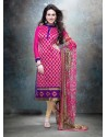 Pink And Blue Georgette Churidar Suit