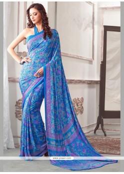 Royal Blue Printed Saree