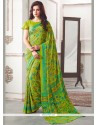 Exceptional Green Print Work Casual Saree