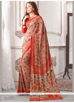 Gripping Print Work Multi Colour Printed Saree