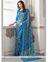 Lavish Faux Crepe Blue Print Work Printed Saree