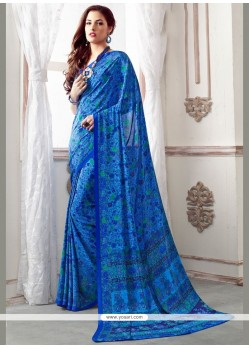 Distinguishable Faux Crepe Blue Print Work Casual Saree