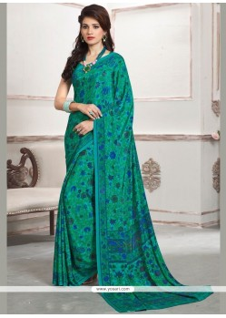 Impeccable Faux Crepe Sea Green Printed Saree