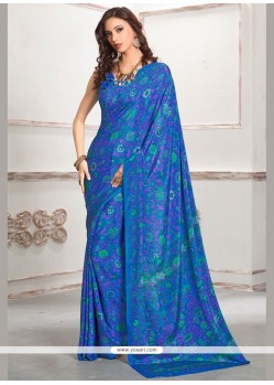 Fascinating Blue Print Work Faux Crepe Casual Saree