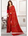 Demure Print Work Red Faux Crepe Casual Saree