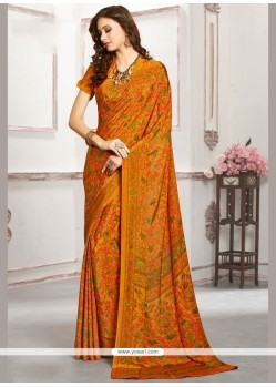 Desirable Faux Crepe Mustard Casual Saree