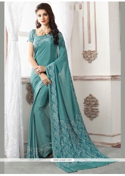 Exceptional Faux Crepe Blue Print Work Casual Saree