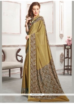 Superlative Faux Crepe Print Work Casual Saree