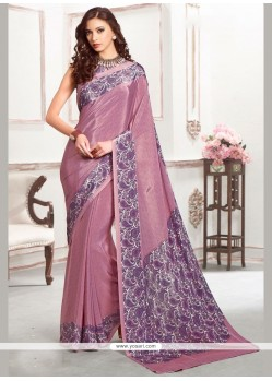 Sonorous Purple Print Work Casual Saree