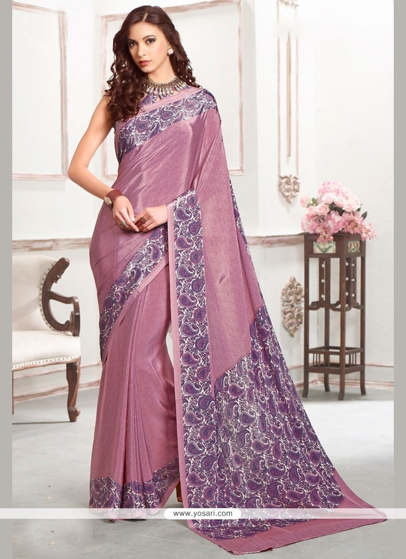 Sonorous Purple Print Work Casual Saree