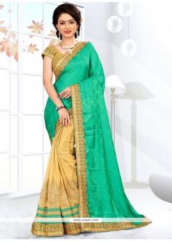 Latest Resham Work Half N Half Designer Saree
