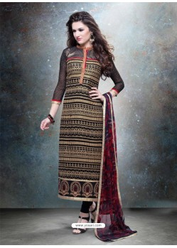 Gold And Black Georgette Churidar Suit