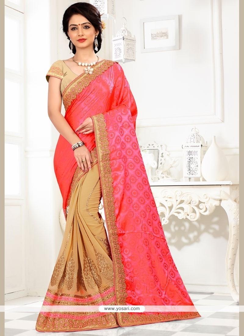 Embroidered Net Half N Half Trendy Saree In Beige And Rose Pink