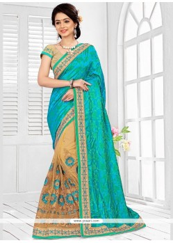 Irresistible Patch Border Work Beige And Sea Green Half N Half Designer Saree