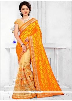 Affectionate Patch Border Work Half N Half Designer Saree