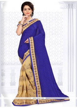 Magnetize Crepe Silk Beige And Blue Patch Border Work Designer Half N Half Saree