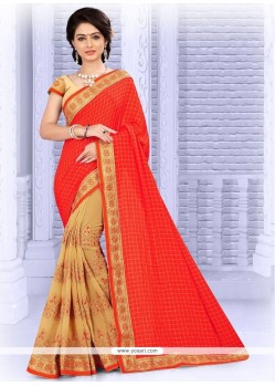 Beige And Red Resham Work Faux Georgette Half N Half Designer Saree