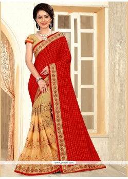 Captivating Crepe Silk Beige And Red Zari Work Designer Half N Half Saree