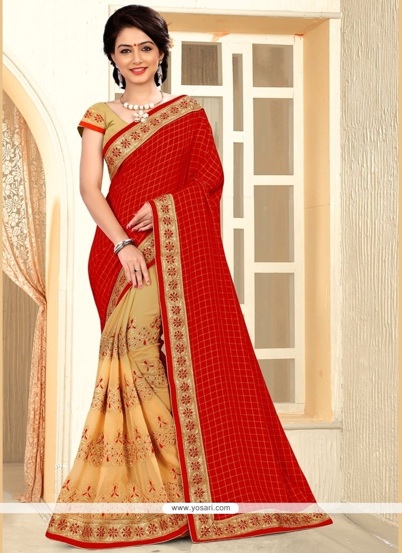 Captivating Crepe Silk Beige And Red Zari Work Designer Half N Half Saree