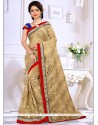 Delectable Embroidered Work Beige Classic Saree