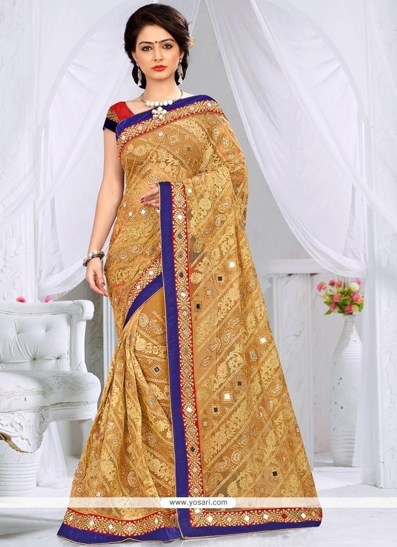 Dainty Net Embroidered Work Classic Designer Saree