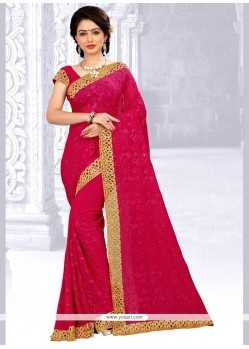 Amazing Magenta Embroidered Work Faux Georgette Designer Saree
