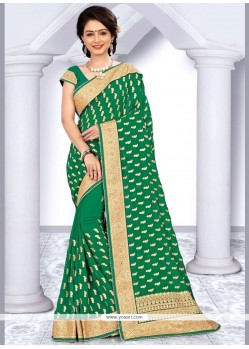 Distinguishable Faux Georgette Green Zari Work Saree