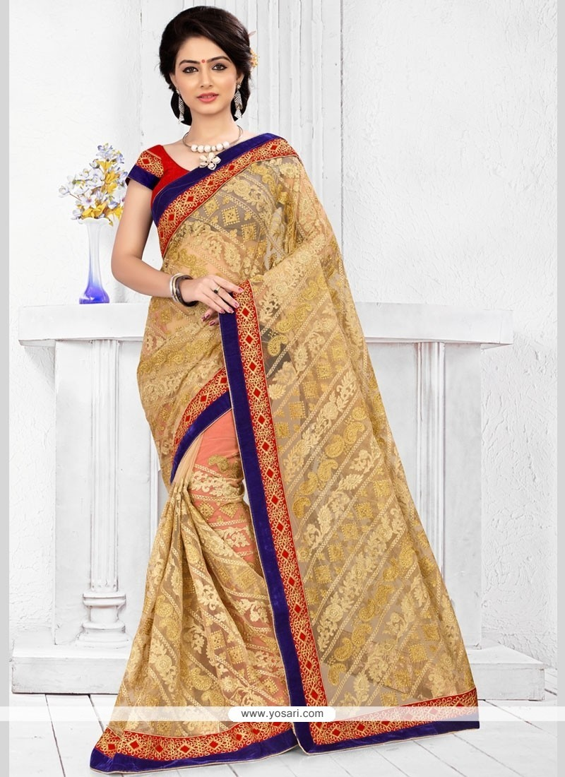Intrinsic Net Beige Resham Work Classic Designer Saree