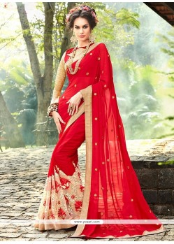 Precious Red Embroidered Work Faux Georgette Saree