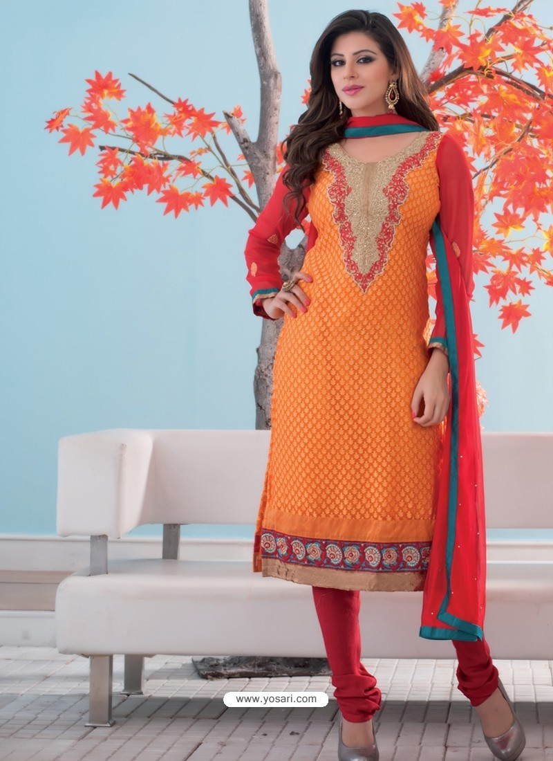Orange And Red Brasso Churidar Suit
