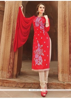 Intrinsic Cotton Embroidered Work Churidar Suit