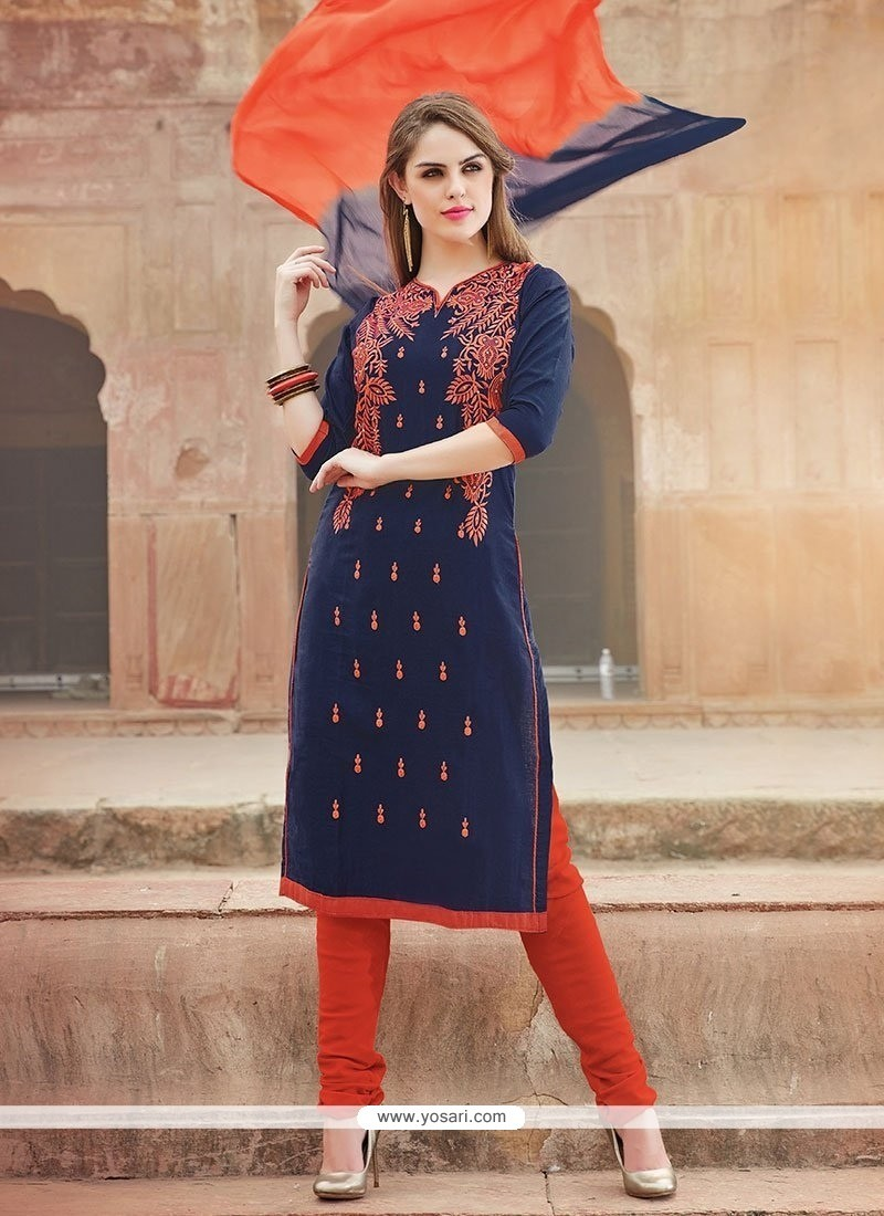 Sunshine Embroidered Work Cotton Churidar Suit