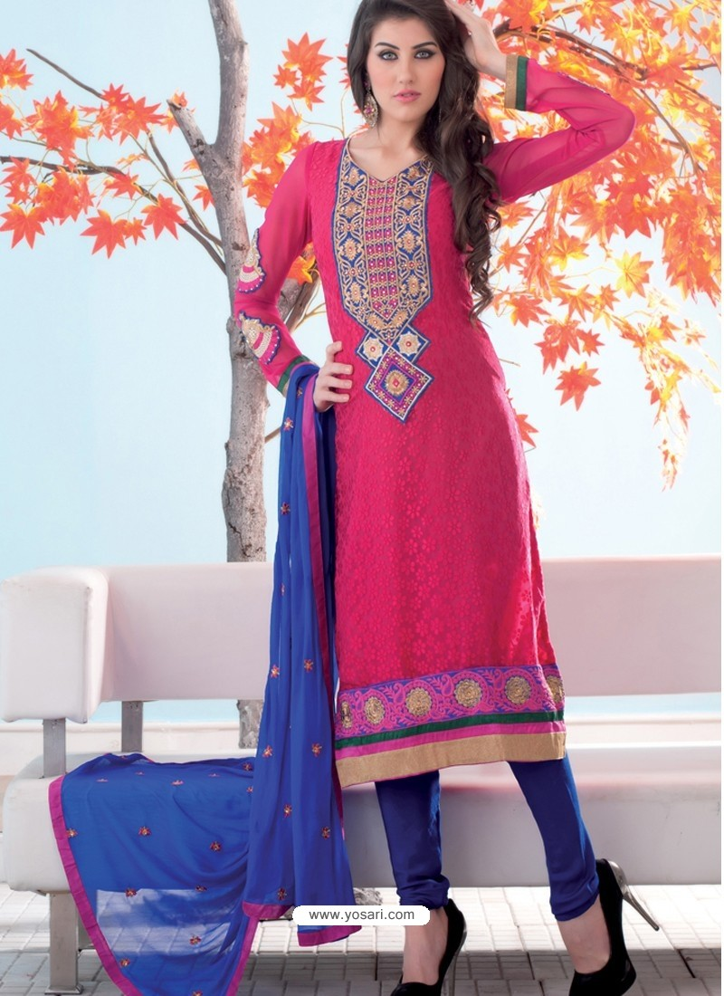 Pink And Blue Brasso Churidar Suit
